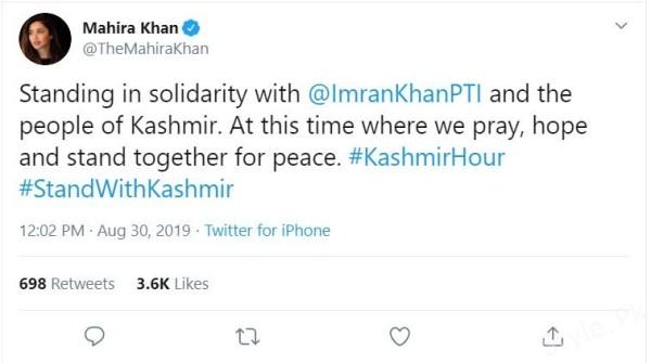 Mahira Khans Tweet on Kashmir Solidarity