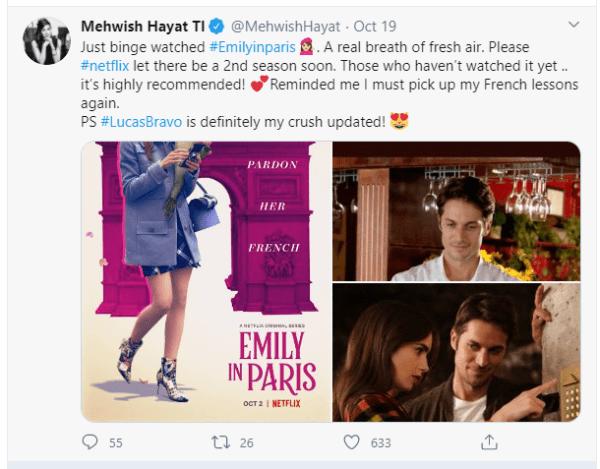 Mehwish Hayat Reveals Her Celebrity Crush from 'Emily in Paris'