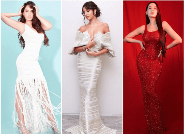 Nora Fatehi's Style Evolution From Sarees To bandage Dresses