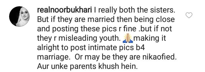 Noor Bukhari Unhappy With Minal Khan's Latest Pictures