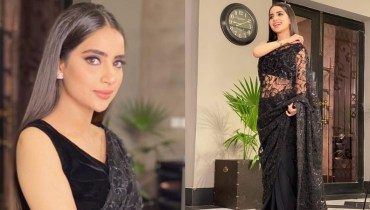 Saboor Aly Rocks A Black-Colored Gorgeous Saree