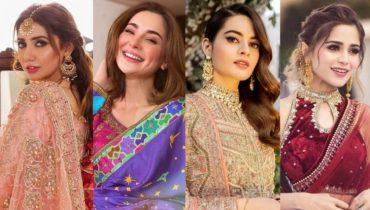 Pakistani Celebrities Beautiful Winter Bridal Dresses