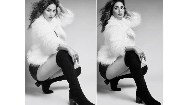 Hina Khan stunning black and white photoshoot in White Jacket