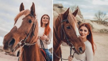 Singer Momina Mustehsan horse riding in Scenic Cappadocia
