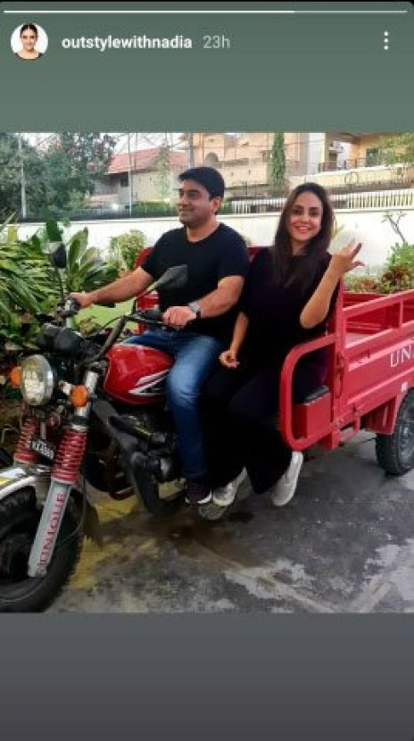 Nadia Khan Rides A Chingchi With Her Husband