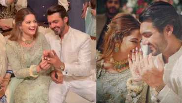 Minal Khan & Ahsan Mohsin looks super excited on Engagement