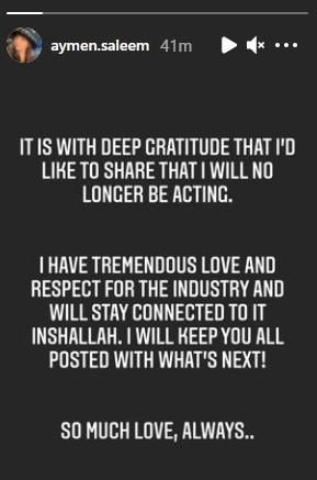 Aymen Saleem Will Quit Pakistan Entertainment Industry