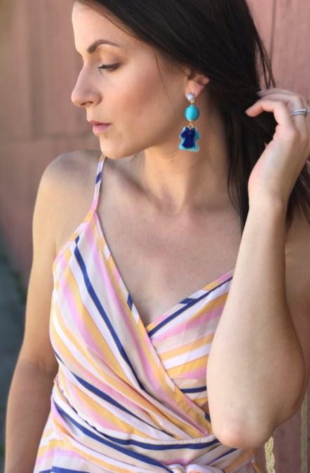 striped top earrings