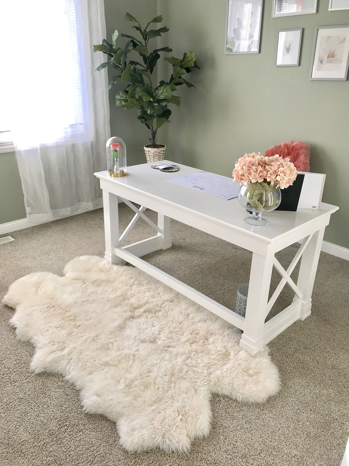 Office desk and rug