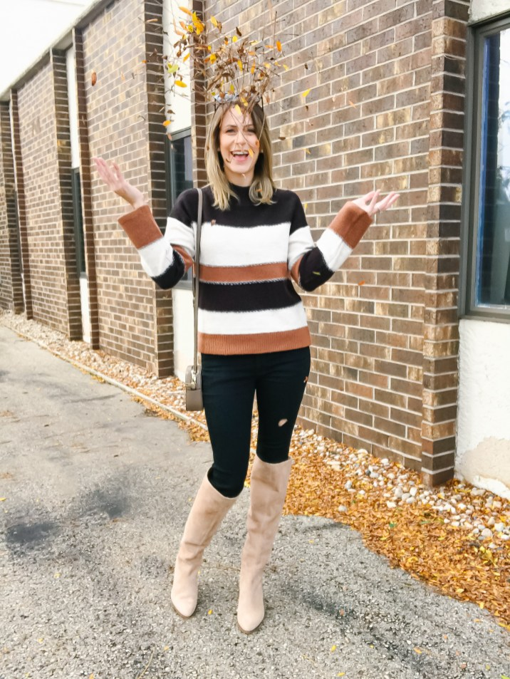 Color Block Sweater with 2 shoe options