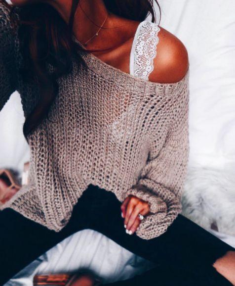 bralette under knitwear