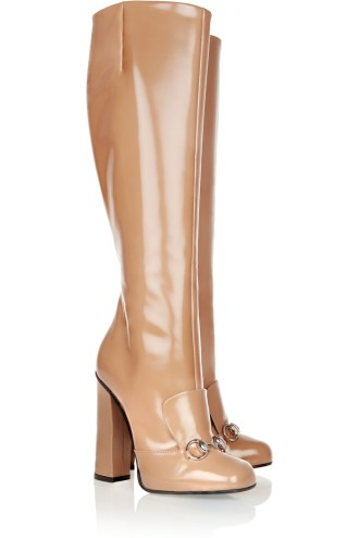 Patent-leather knee boots. Gucci, $1,595
