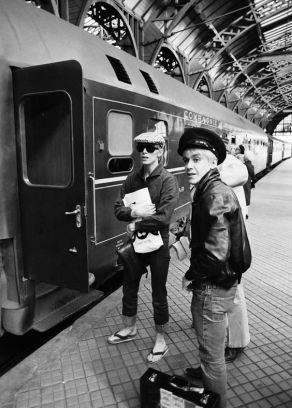David Bowie and Iggy Pop at the Copenhagen Railway Station by Jan Persson, 1976