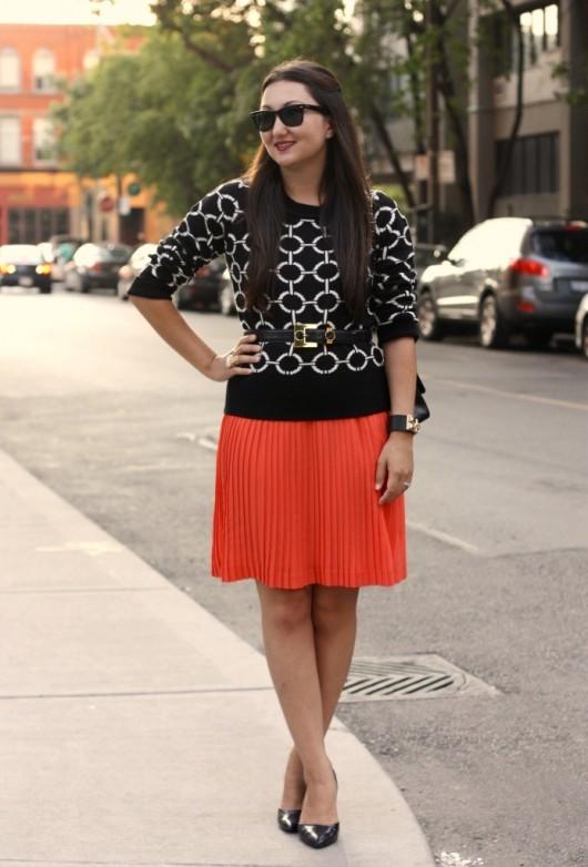 orange-pleated-skirt
