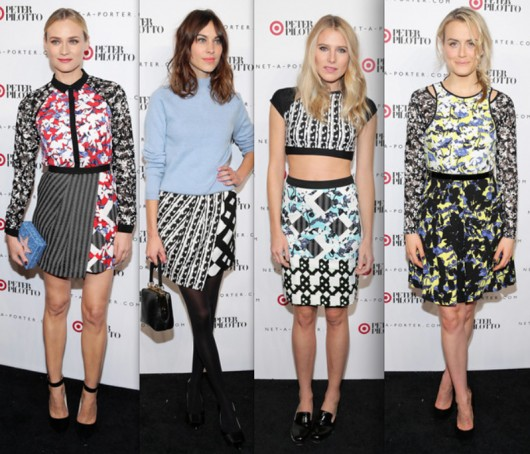 Diane-Kruger-Alexa-Chung-Dree-Hemingway-Taylor-Schilling-Peter-Pilotto-Target-collection-celebrity-look-2014
