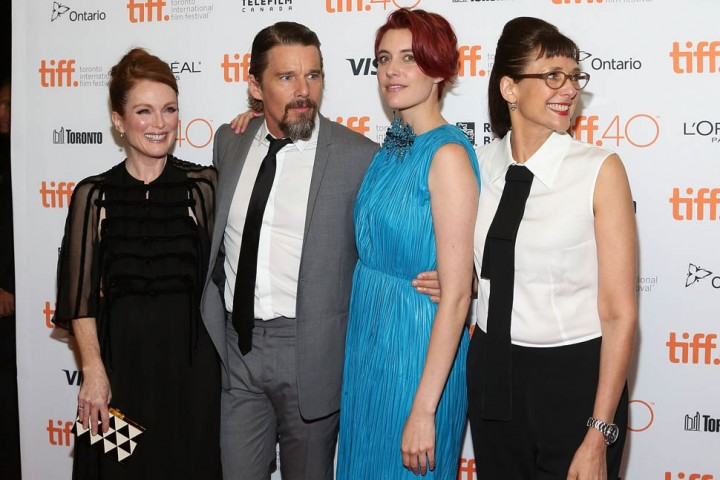 "TORONTO, ON - SEPTEMBER 12: Julianne Moore, Ethan Hawke, Greta Gerwig, and Rebecca Ann Miller attend the premiere of ""Maggie's Plan"" at Princess of Wales Theatre during the 2015 Toronto International Film Festival on September 12, 2015 in Toronto, Canada. (Photo by Taylor Hill/FilmMagic)"