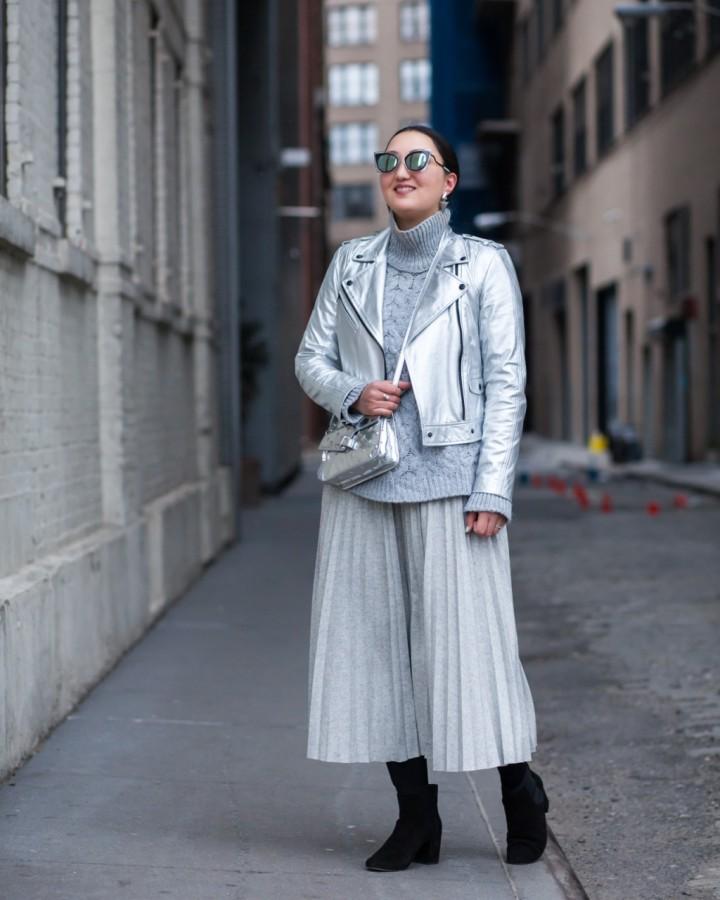 silver-leather-jacket-midi-pleated-skirt-oak-fort-2