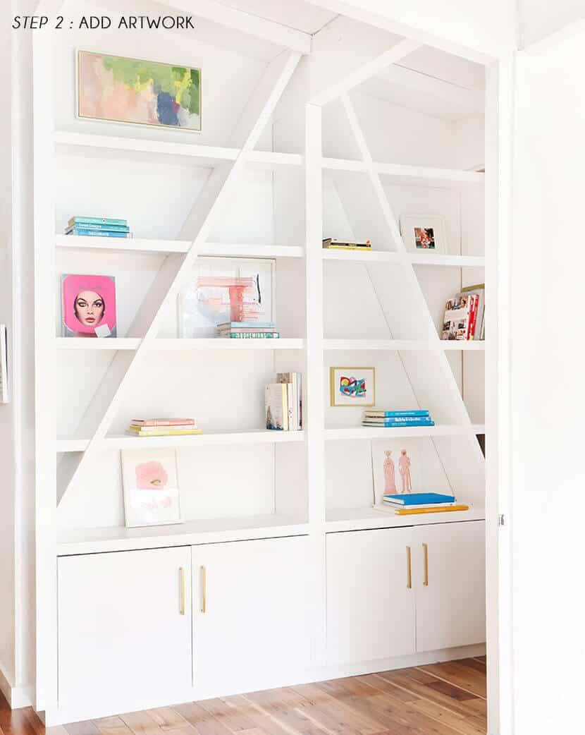 Emily Henderson Pink Shelf Styling STEP 2