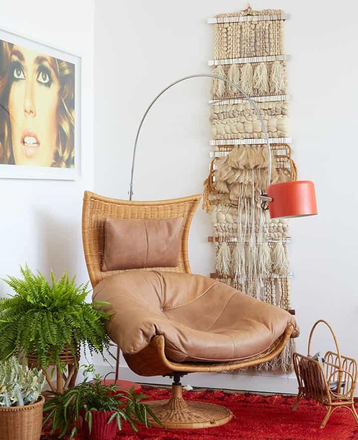 70s Gift Guide_Retro_Boho_Living Room_Wicker Chair_Shag Rug_Emily_Henderson