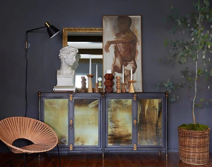 Brady Picks A Credenza_Living Room_Broc Console_Modern Art_Moody_Masculine_Gray_Wood_Eucalyptus_Woven Leather_Citizenry_2