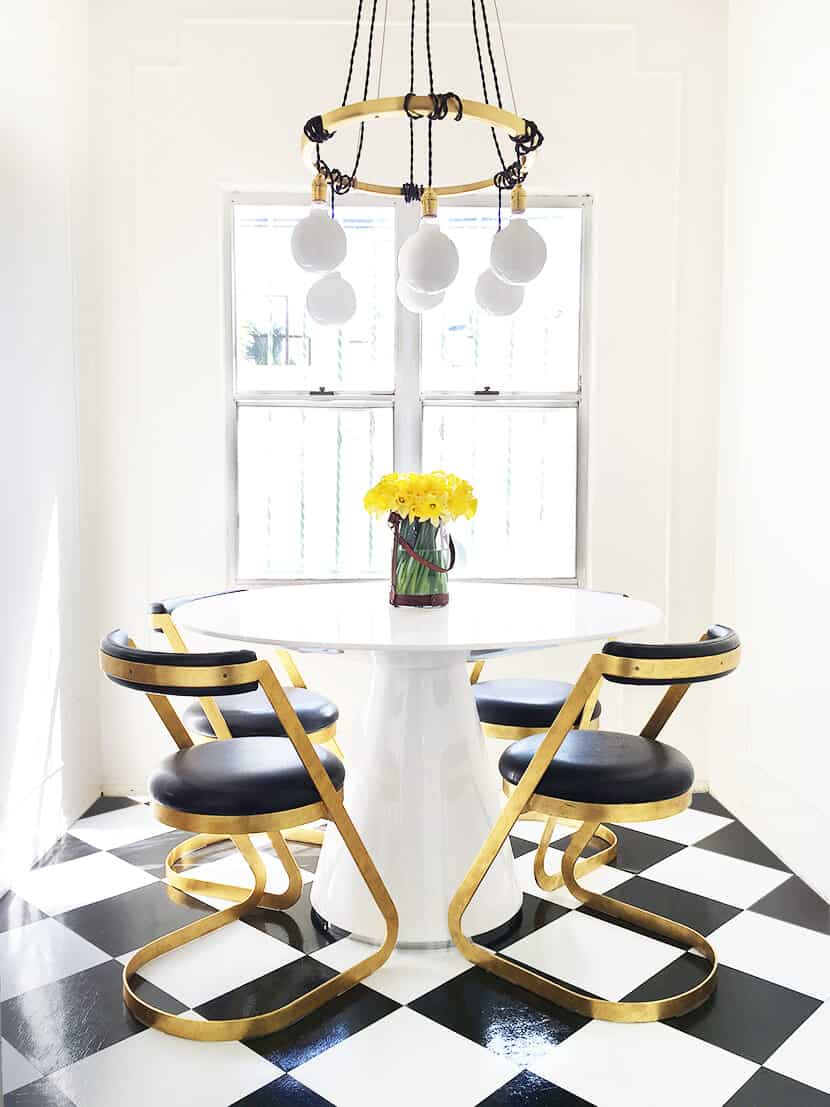 DIY Vinyl Kitchen Floor Tile Peel and Stick Retro Brady Tolbert Kitchen Vintage Dining Room After