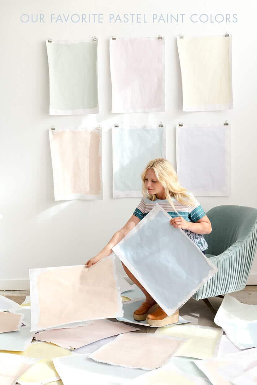 Emily Henderson Picking Pastel Paints Green Velvet Chair