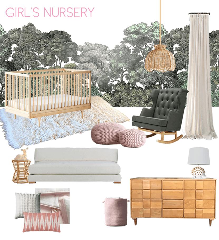 Emily House Girls Nursery Moodboard Green Pink