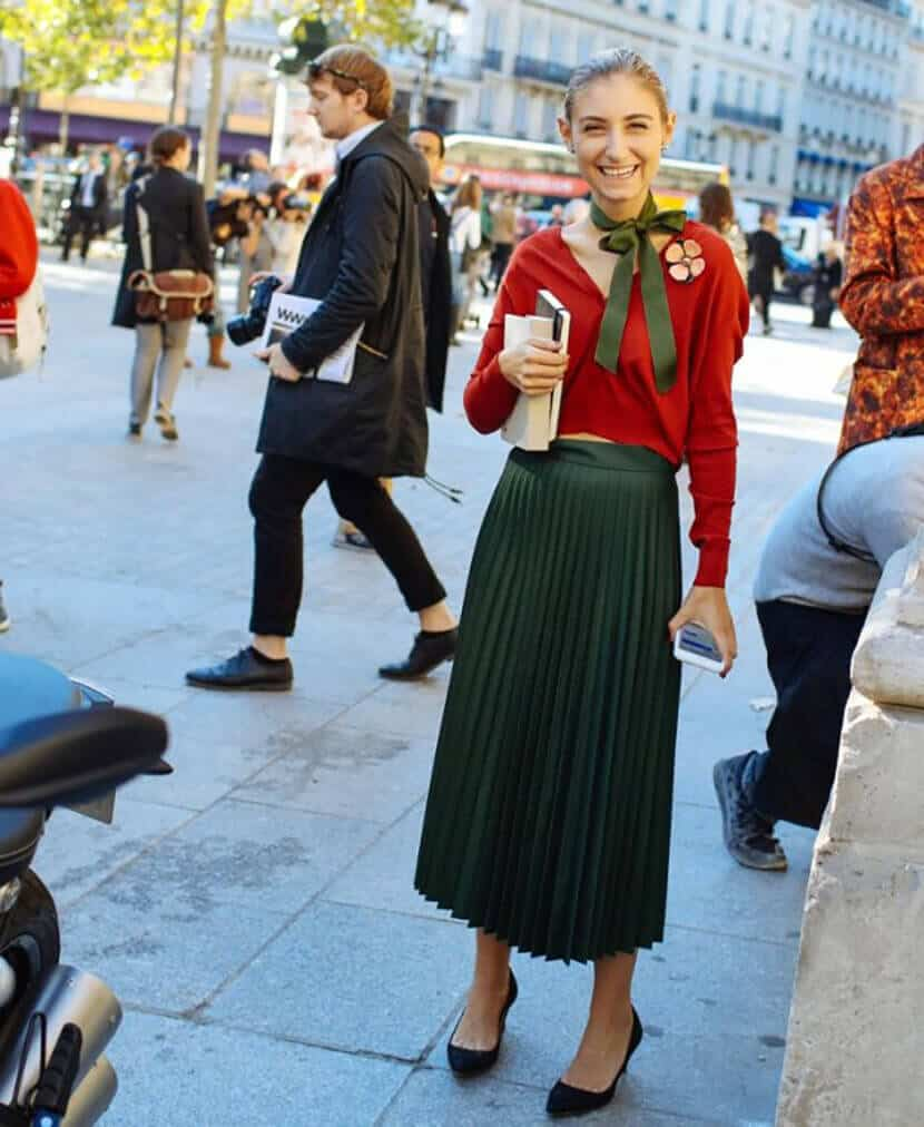 Green Midi Skirt Red Sweater Stree Fashion