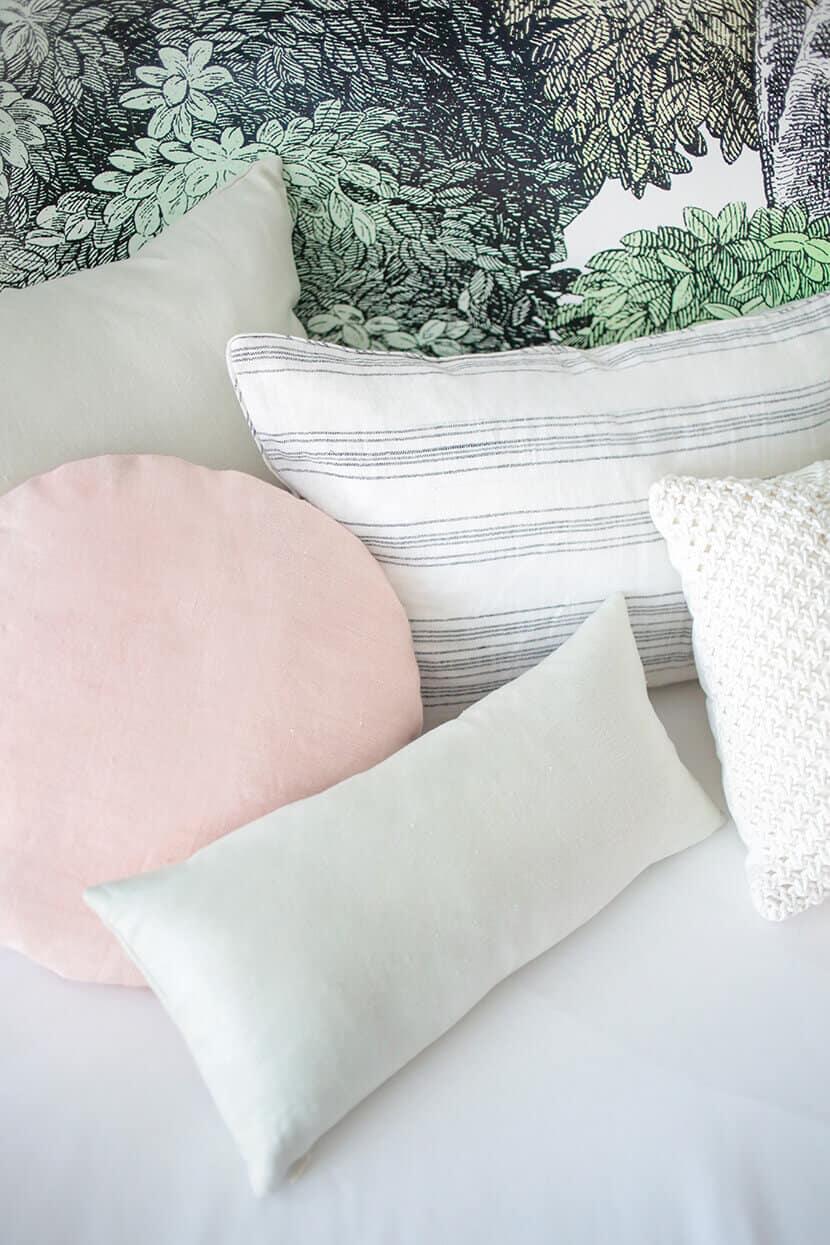 Pink Green Linen Throw Pillows