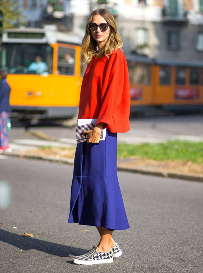 Red Box Sweater Blue Midi Skirt