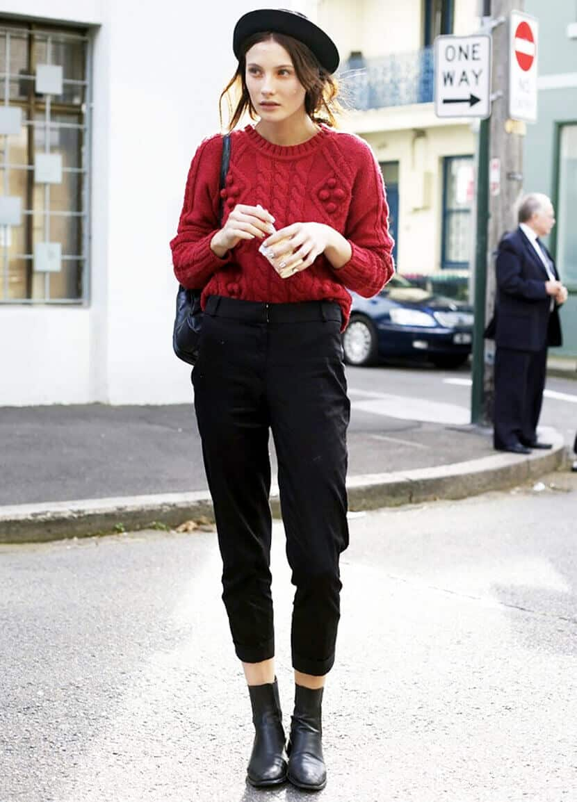 Red Knit Sweater Modle Off Duty
