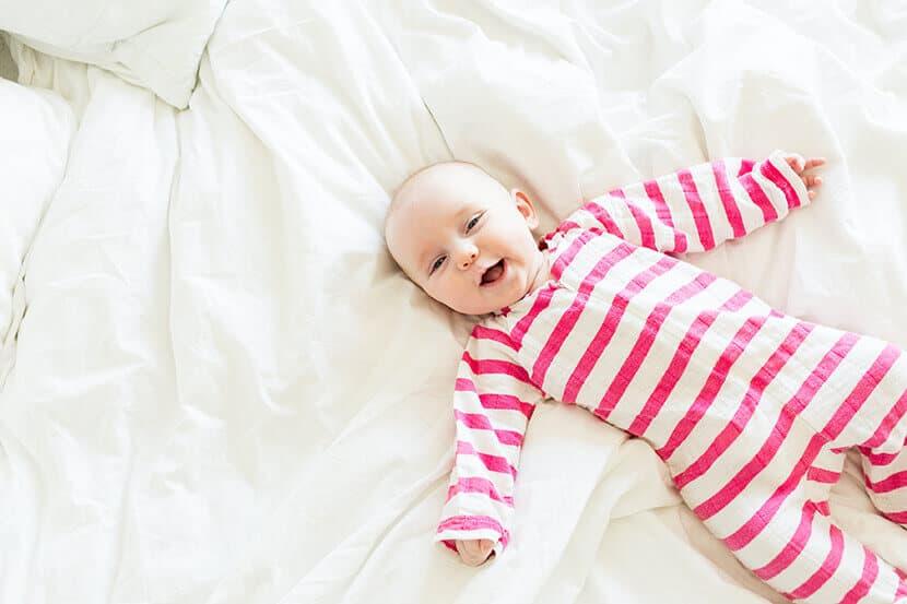 pink striped linen baby jumper