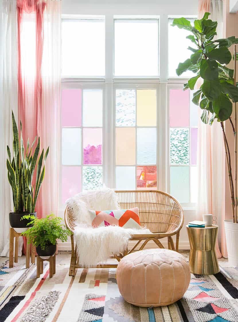 Gila DIY Window Film Happy Bright Pastel Emily Henderson Bamboo Seating Area 1