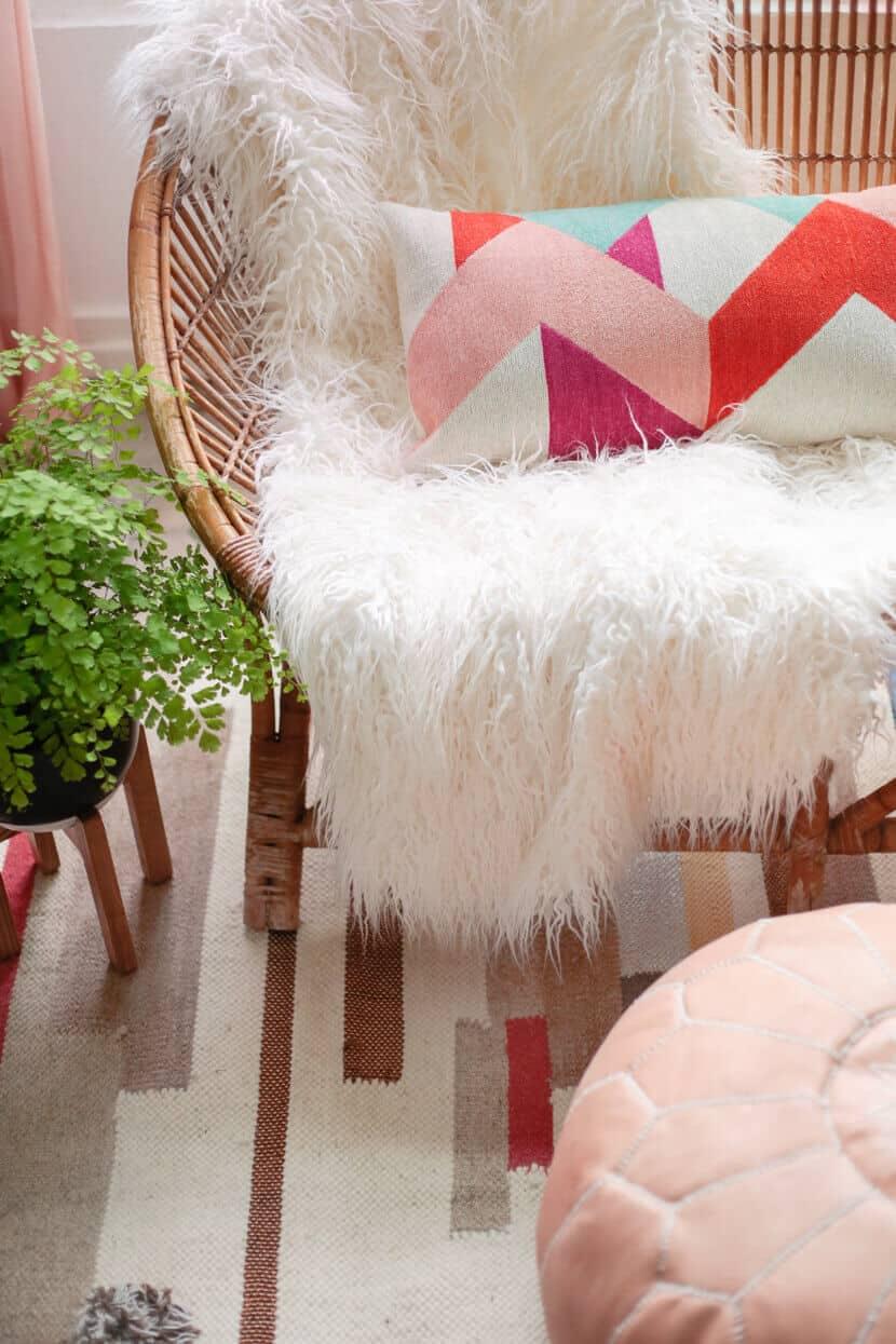 Gila DIY Window Film Happy Bright Pastel Emily Henderson Bamboo Seating Area 6
