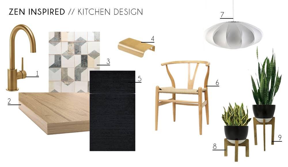 Zen Kitchen Accessories Furniture Minimal Wishbone Chair Indoor Plants Contemporary Modern Kitchen Design Moodboard