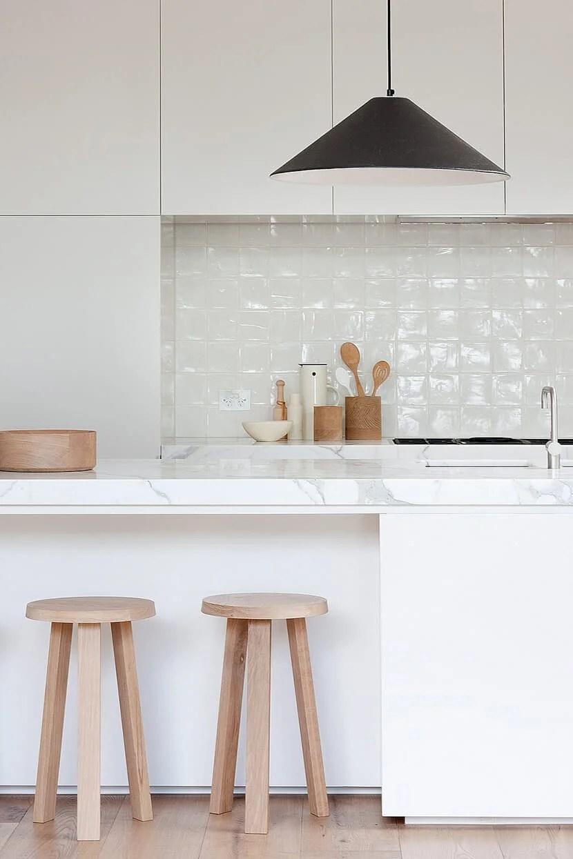 Zen Kitchen Accessories Modern Wood White Marble Tile