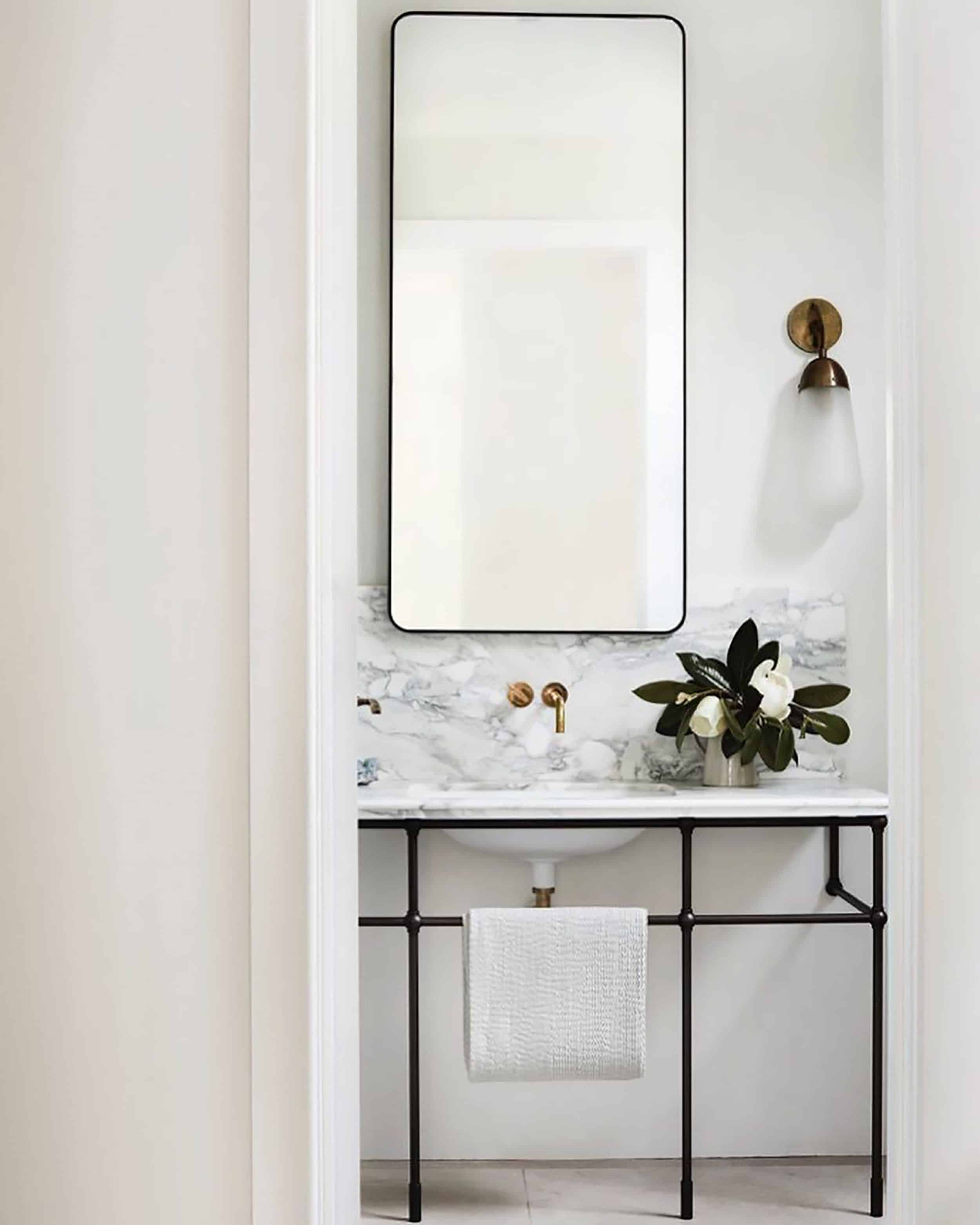 Modern Bathroom Marble Vanity With Tall Mirror