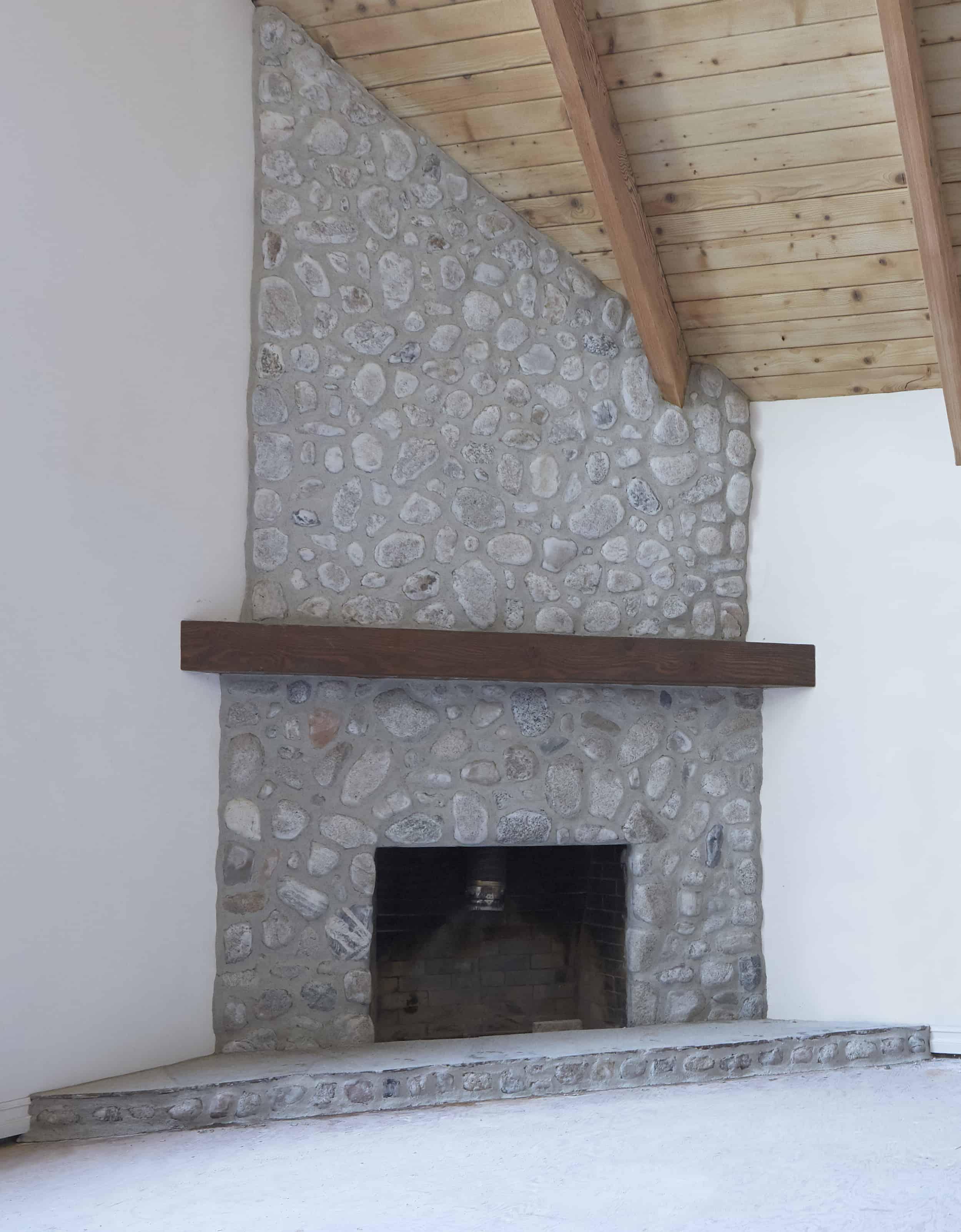 mountain house stone fireplace