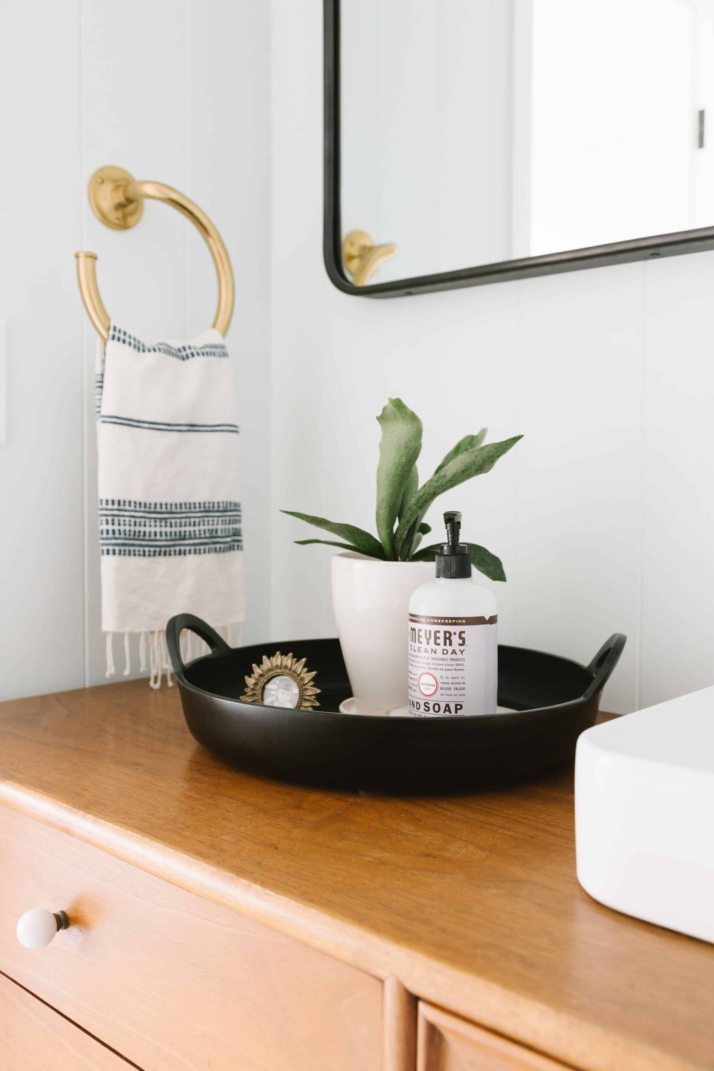 Samantha Gluck Emily Henderson Traditional Bathroom Black Tray