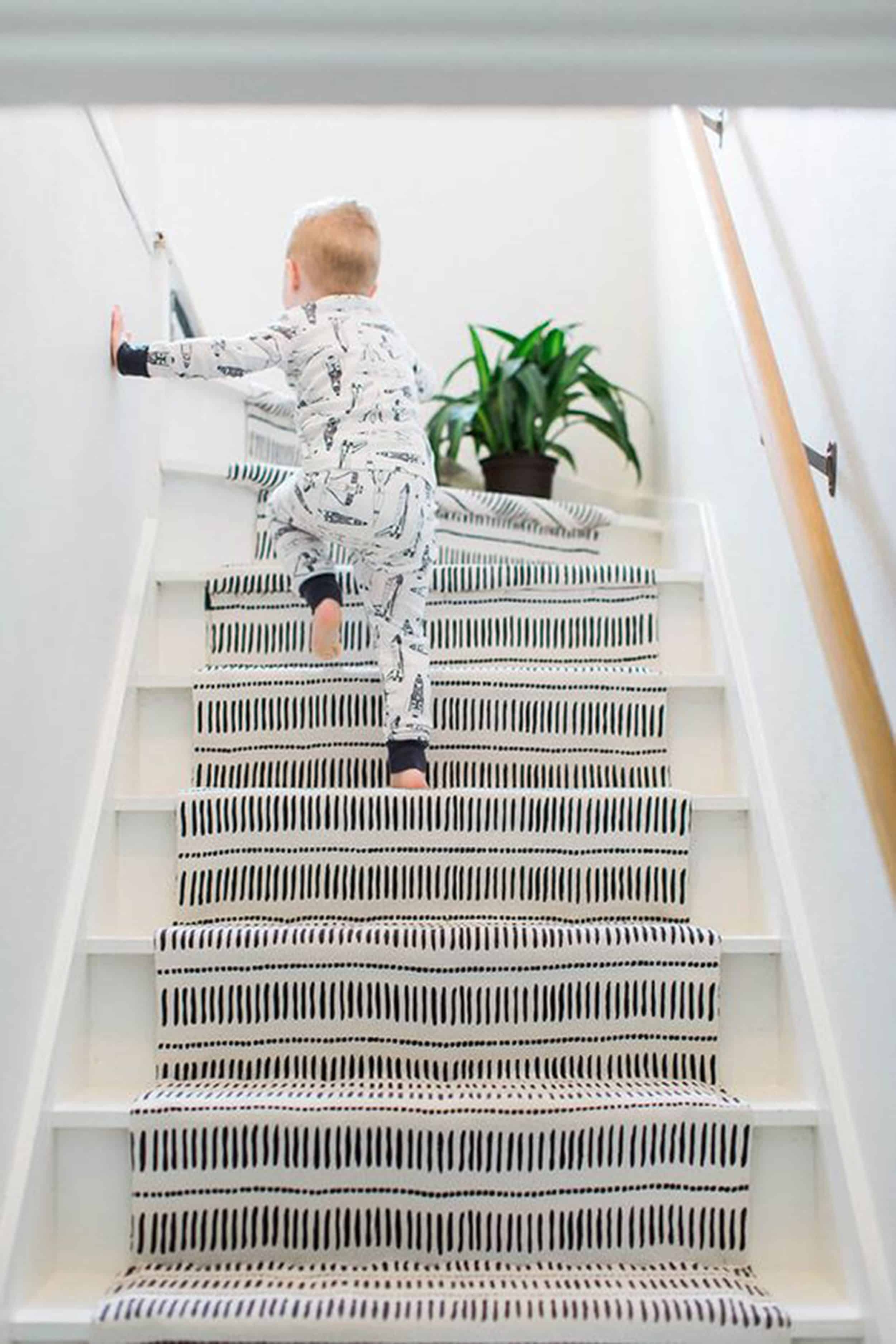 Should I Add A Carpet Or Rug Runner To My Mountain House Staircase | Modern Carpet Runners For Stairs | Geometric | Design | White | Curved | Kitchen Modern
