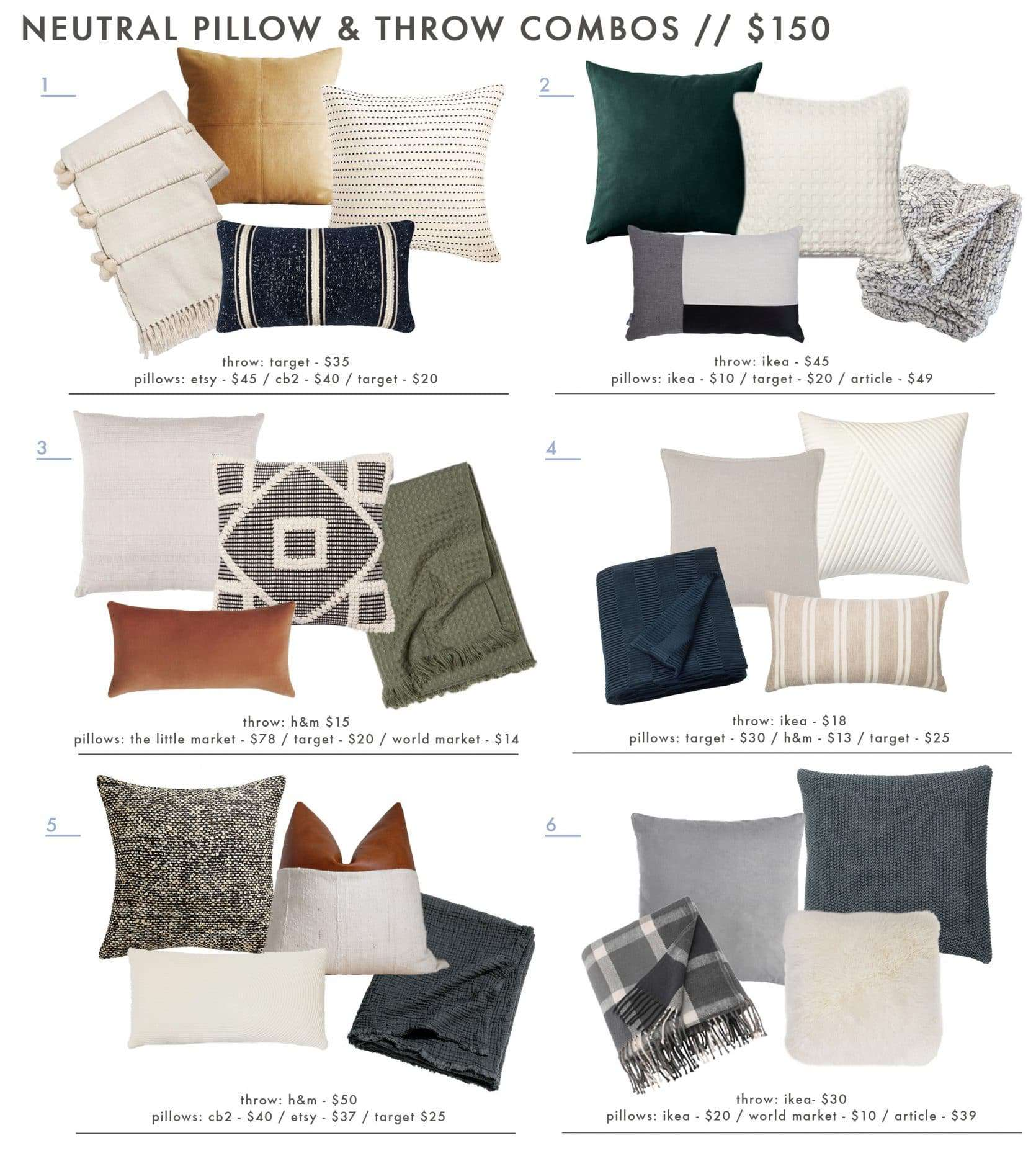 18 neutral and textured pillow combos