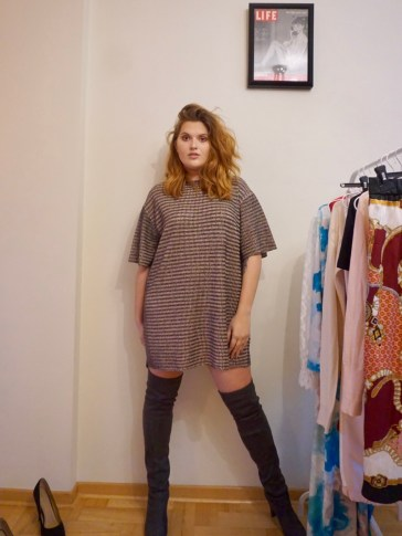 T-Shirt Dress with over the knee boots