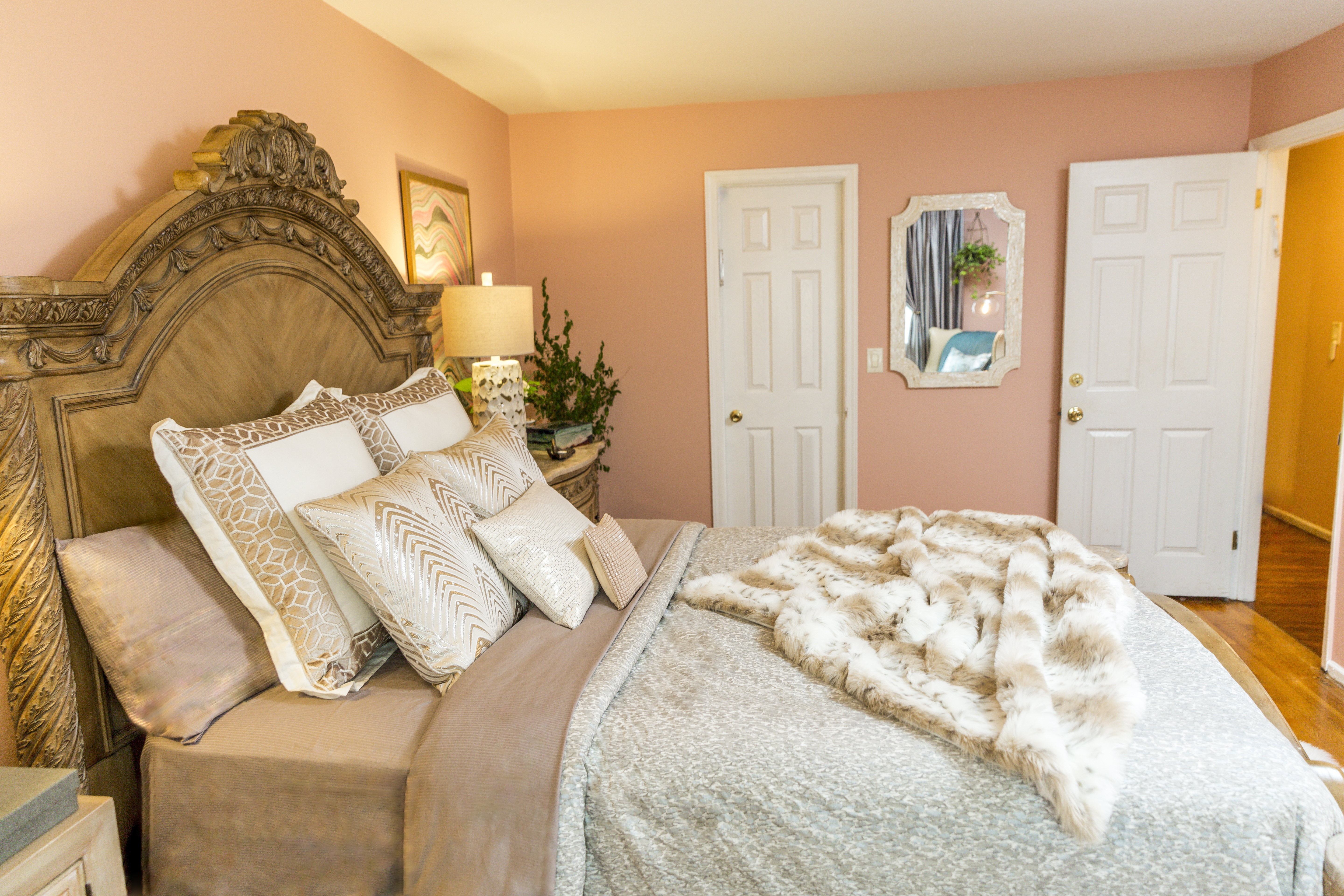 Traditional Master Bedroom in Neutrals and Blush, by Style by Mimi G, E-Designer and Interior Decorator
