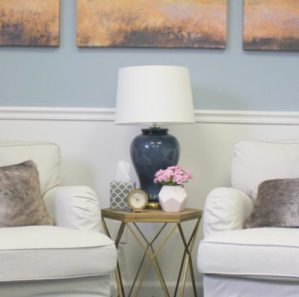 Therapy Office Decor in serene coastal colors, designed by e-designer and blogger, Style by Mimi G