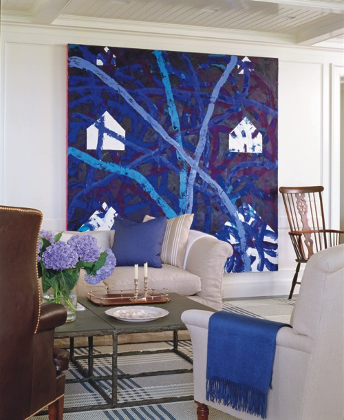 Designer Victoria Hagan White Living Room With Statement Artwork