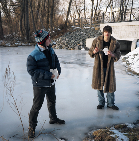 Ranee Palone Flynn Boys in Fur Coat on Ice