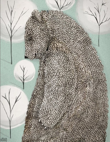 Drawing of Bear in Woods