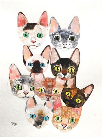 Devon Rex Kitty Cat Heads Painting