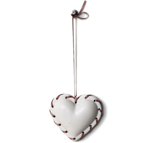Heart Ornament White with Topstitching
