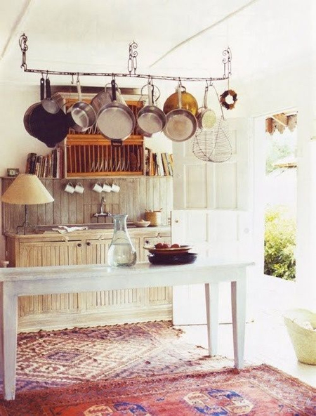 rustic-kitchen-hanging-pots-oriental-rugs